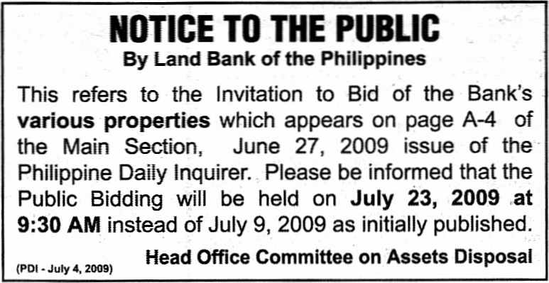 Land Bank Of The Philippines Acquired Assets For Sealed