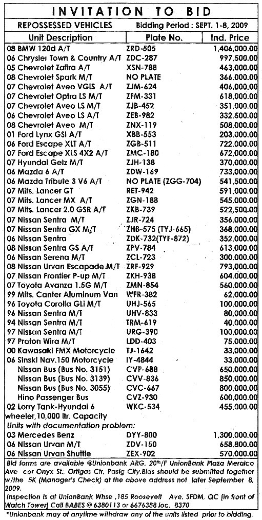 UNIONBANK-REPOSSESSED-CARS-SEPTEMBER-8-2009(MANILA-BULLETIN-CLASSIFIEDS-SEP-3-2009-PAGE-8)