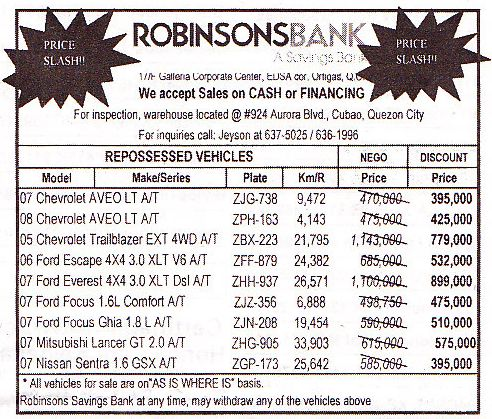 ROBINSONSBANK-REPOSSESSED-CARS