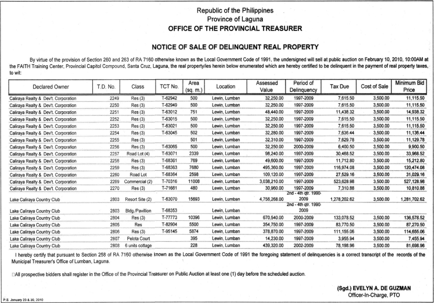 Tax foreclosure sale of delinquent real properties in Laguna slated on February 10, 2010