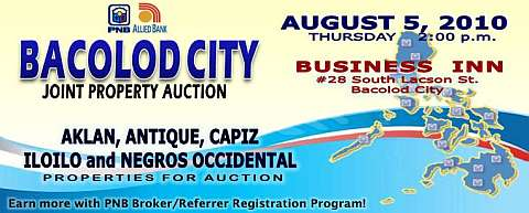 Joint auction of PNB and Allied Bank foreclosed properties slated on August 5, 2010