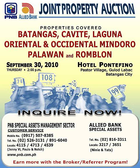 PNB - Allied Bank joint property auction in Batangas slated on September 30, 2010