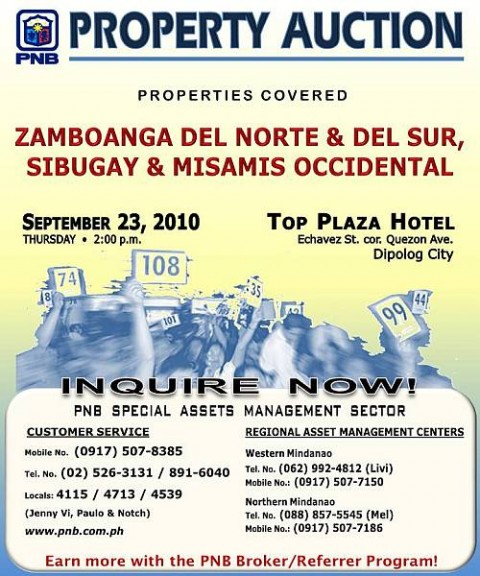 Dipolog City property auction by PNB slated on September 23, 2010