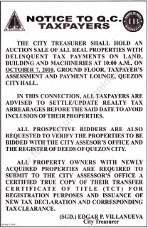 Quezon City Treasurer to hold tax foreclosure auction on October 7, 2010