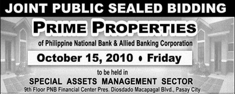 Invitation to bid for PNB and Allied Bank Prime Properties