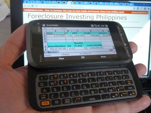 My HTC Touch Pro 2 with my property analyzer excel sheet loaded