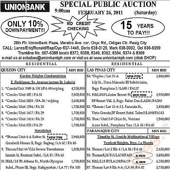 165th public auction of UnionBank foreclosed properties slated on February 26, 2011