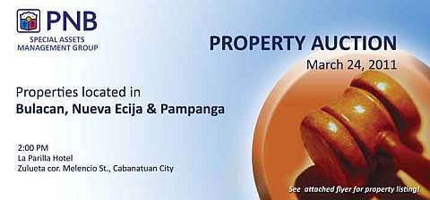 Cabanatuan foreclosed property auction by PNB slated on March 24, 2011