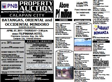 PNB foreclosed properties auction in Calapan City slated on April 7