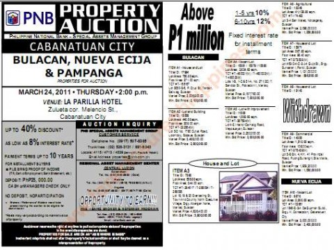 pnb foreclosed properties listing cabanatuan auction March 24, 2011