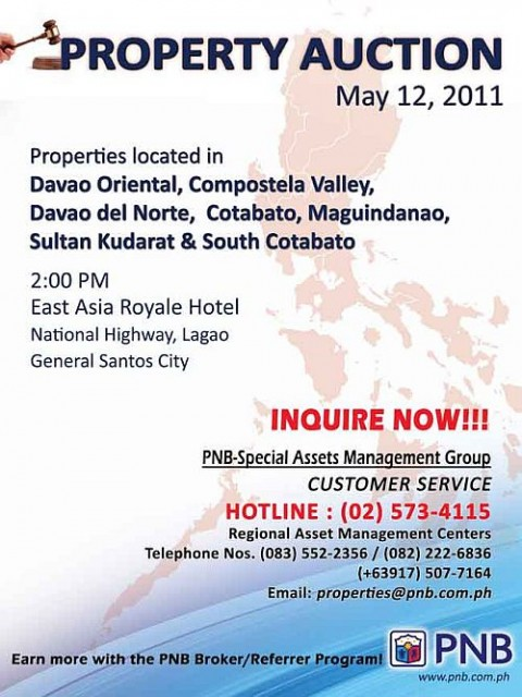 PNB General Santos City foreclosed property auction on May 12, 201