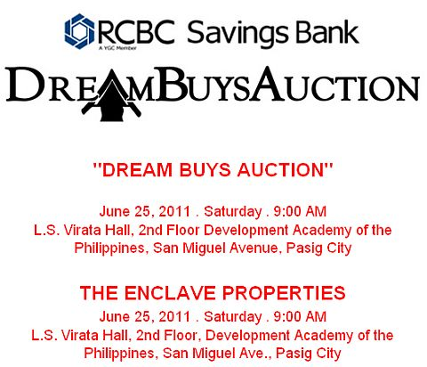 """RCBC Savings Bank foreclosed properties """"Dream Buys Auction"""" slated on June 25, 2011"""