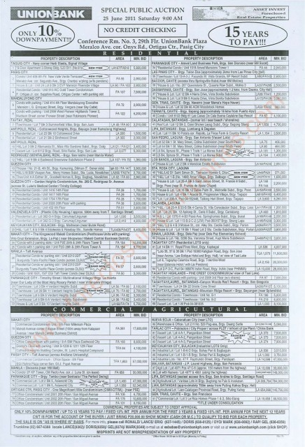UNIONBANK FORECLOSED PROPERTIES AUCTION FLYER 171st JUNE 25 2011
