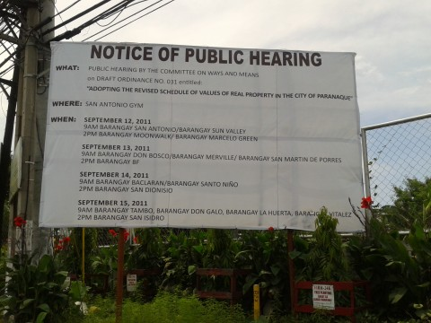 Adopting the revised schedule of values of real property in the city of Paranaque - public hearing