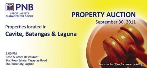 PNB Santa Rosa foreclosed properties auction - September 30, 2011