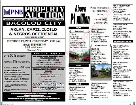 PNB Bacolod foreclosed properties auction - PDF