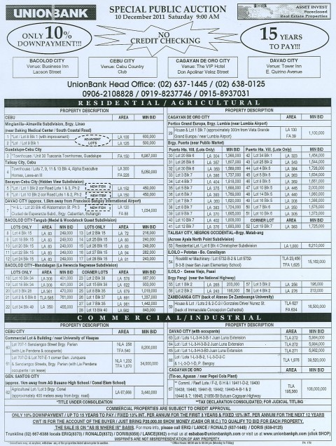 UNIONBANK 178th SPECIAL PUBLIC AUCTION VISMIN FORECLOSED PROPERTIES DECEMBER 10 2011 auction flyer_178SPA