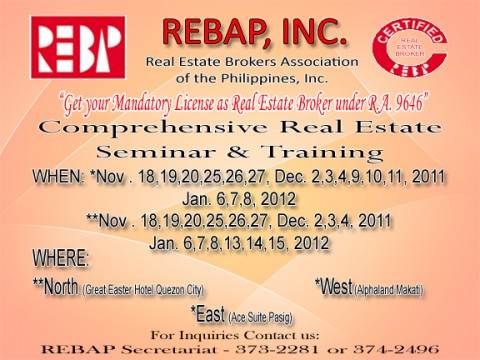 Real estate brokers association of the philippines REBAP CRES TRAINING announcement