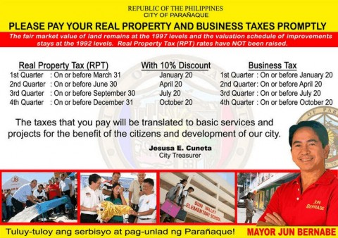 Paranaque real property taxes have not been raised
