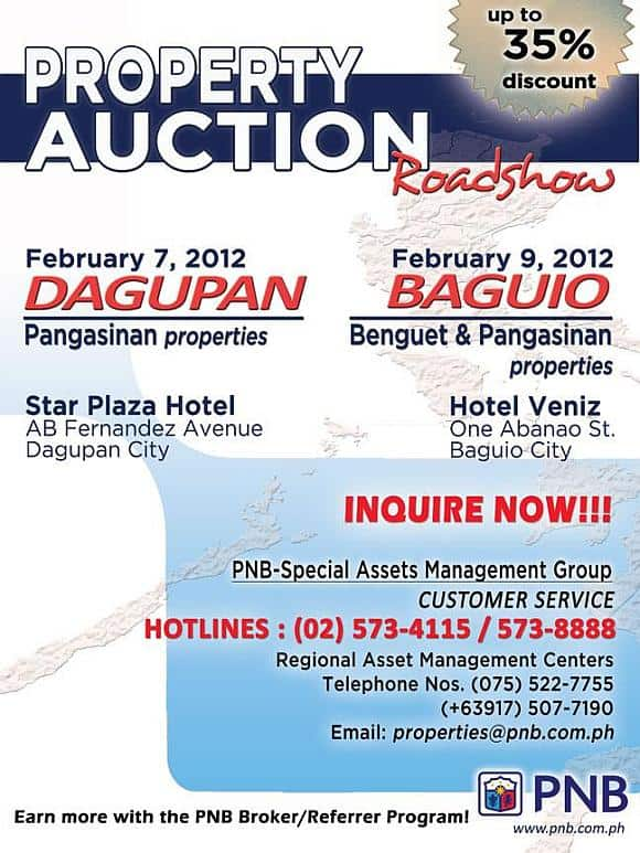 PNB foreclosed properties auction in Dagupan on February 7, 2012 and in Baguio on February 9, 2012
