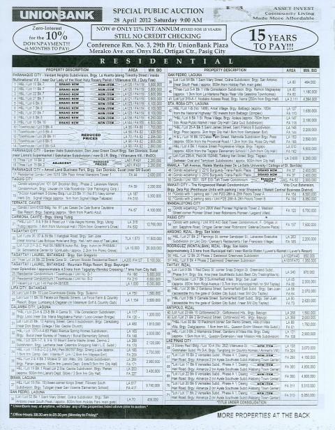 184th Unionbank Foreclosed Properties Auction on April 28, 2012 (page 1 of 2)