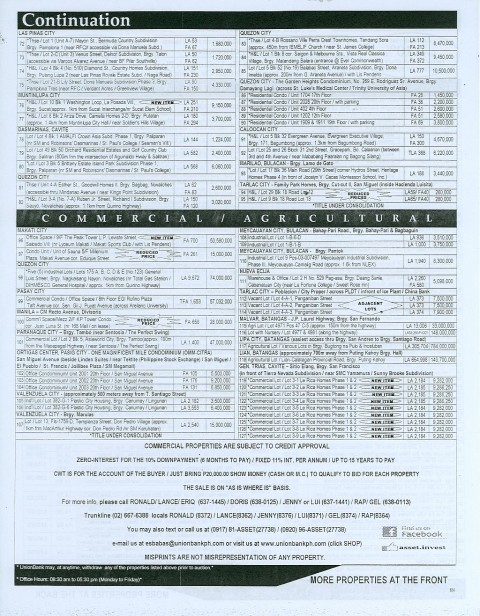 184th Unionbank Foreclosed Properties Auction on April 28, 2012 (page 2 of 2)