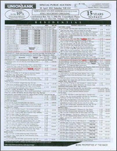 184th Unionbank Foreclosed Properties Auction (post auction listing) - PDF