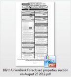189th UnionBank foreclosed properties auction slated on August 25, 2012 (Still no credit checking)
