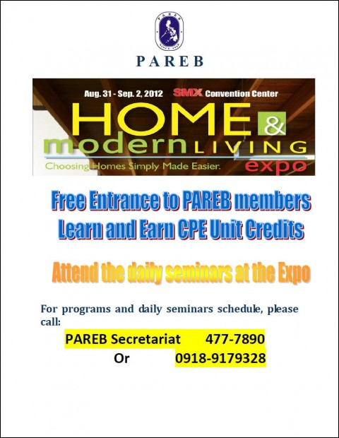 Invitation to the Home and Living Expo 2012 on August 31-September 2, 2012 at the SMX Convention Center, Mall of Asia Complex, Pasay City