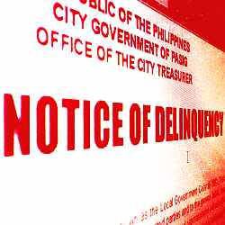Pasig City Notice of Delinquency - Tax Foreclosure auction on November 13, 2012