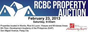 44th RCBC Mega Property auction on February 23, 2013