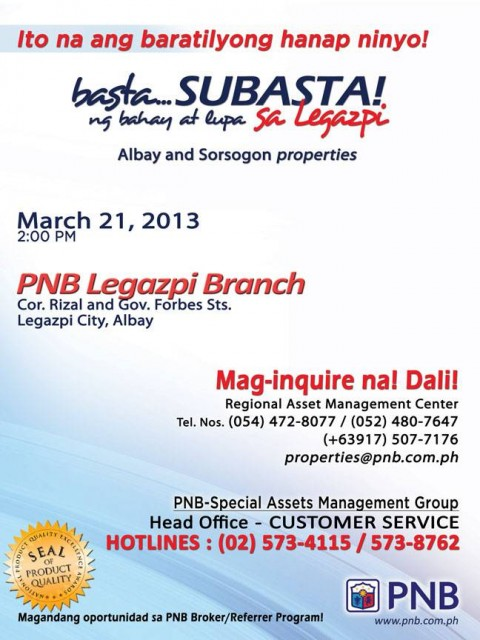 PNB Foreclosed Properties Subasta Legazpi March 21 2013