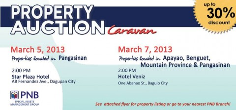 PNB Foreclosed Property Auction Caravan Dagupan and Baguio March 5 and 7 2013