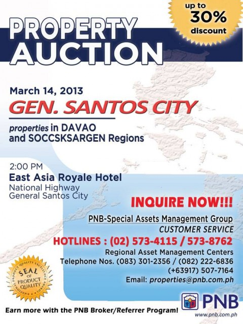 PNB Foreclosed Property Auction General Santos City March 13 2013