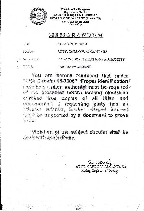 Quezon City Registry of Deeds memorandum for certified true copies of titles and documents