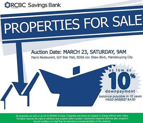 RCBC Savings Bank foreclosed properties March 23 2013 auction