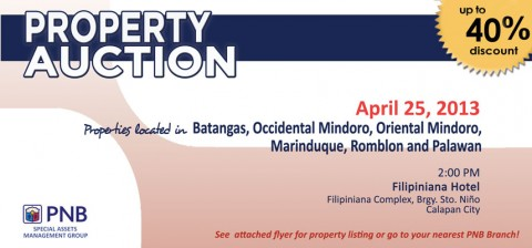 PNB FORECLOSED PROPERTIES CALAPAN AUCTION APRIL 25 2013