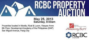 45th RCBC Foreclosed Properties Auction To Be Held On May 25, 2013