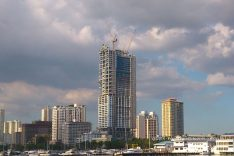 Building under construction near Manila Bay