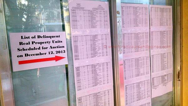 No real estate tax relief in Quezon City. The list of delinquent real property units scheduled for public auction on December 12 2013 can be seen just outside the tax payment lounge.