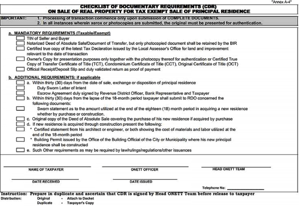 Checklist of Documentary Requirements - Sale of Principal Residence
