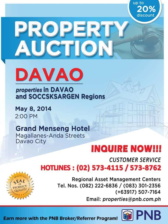 pnb foreclosed properties in davao may 8 2014 auction