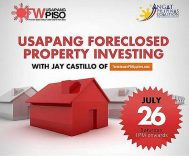 (Registration Closed!) See You At The Usapang Foreclosed Property Investing Seminar On July 26, 2014