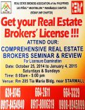 Las Pinas 120-Unit Real Estate Seminar & Training for 2015 Real Estate Brokers Exam Starts October 25, 2014