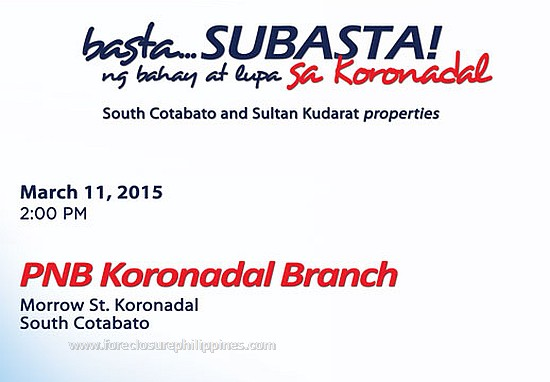 public bidding of pnb foreclosed properties in south cotabato and