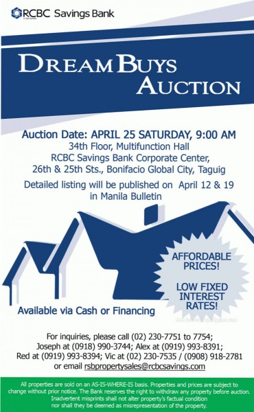 RCBC-SAVINGS-BANK-Foreclosed-properties-dream-buys-auction-April-25-2015-banner