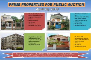 658 Pag IBIG Fund Acquired Assets In Batangas, Bulacan, Laguna, Metro Manila and Rizal For Auction On April 29, 2015
