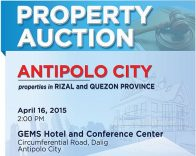 Auction Of PNB Foreclosed Properties In Antipolo And Quezon Province Slated On April 16, 2015