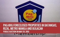 Auction Of 527 Pag IBIG Foreclosed Properties In Batangas, Rizal, Metro Manila And Bulacan Slated On May 29, 2015