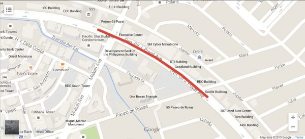 Expect Heavy Traffic When Buendia Underpass Construction Starts - Roxas map